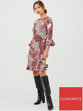 v-by-very-animal-print-flute-sleeve-dress-red