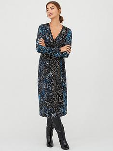 v-by-very-animal-print-wrap-midi-dress-blue