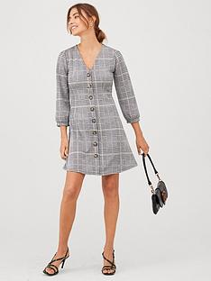 v-by-very-volume-sleeve-button-dress-check