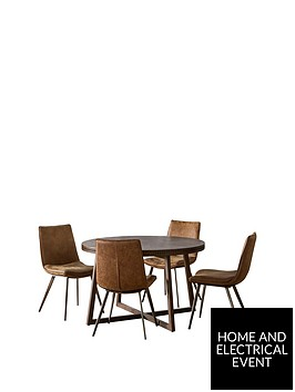 hudson-living-boho-120-cm-round-dining-table-and-4-newton-chairs