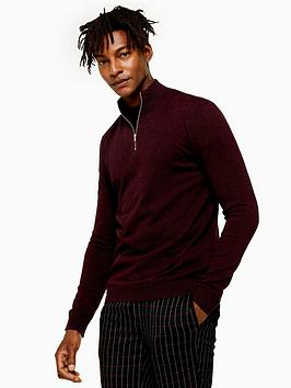 topman-topman-half-zip-knitted-jumper-burgundy