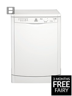 Indesit DFG15B1 12-Place Full Size Dishwasher with Quick Wash - White
