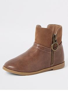 river-island-mini-mini-girls-side-zip-boots-brown
