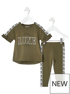 river-island-mini-mini-girls-luxe-tape--tshirt-and-legging-set-khaki