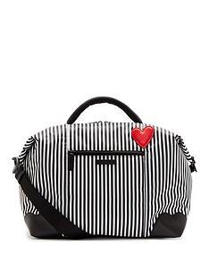 lulu-guinness-blackchalkclassic-red-heart-stripes-fenella-weekend-holdall