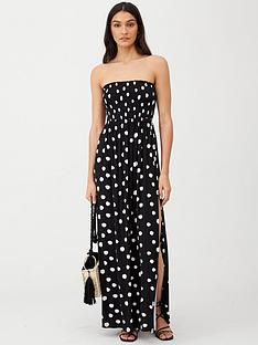v-by-very-bandeau-maxi-dress-spot-print