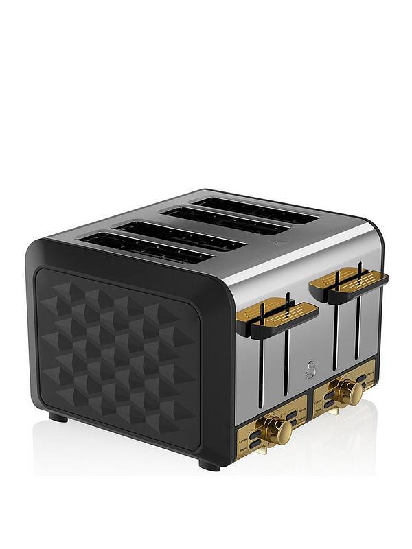 Swan 4 Slice Toaster, Black, Variable