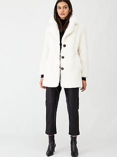 warehouse-single-breasted-teddy-coat-cream