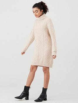 warehouse-cable-jumper-dress-camel
