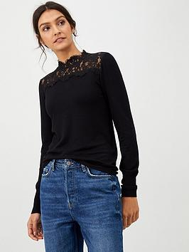warehouse-lace-high-neck-jumper-black
