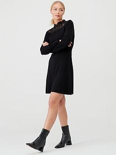 warehouse-lace-high-neck-fit-amp-flare-knitted-dress-black