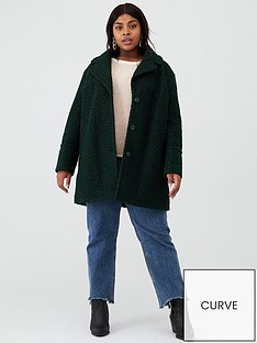 oasis-curve-boucle-teddy-coat-deep-green