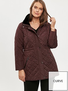 evans-faux-fur-trim-diamond-quilt-coat-plum