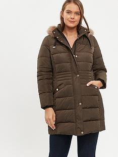evans-faux-fur-trim-padded-coat-khaki