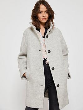 mint-velvet-funnel-neck-button-detail-textured-coat-grey