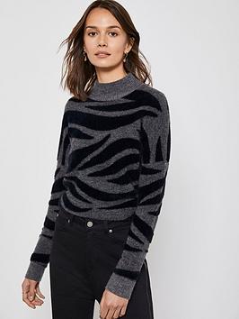 mint-velvet-zebra-print-boxy-knit-jumper-grey