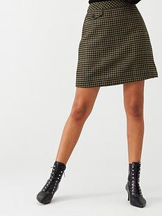 warehouse-check-pelmet-skirt-khaki