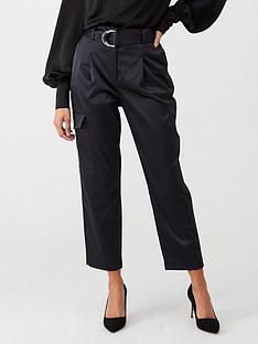 warehouse-satin-utility-trouser-black
