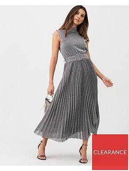 warehouse-pleated-midi-dress-metallic
