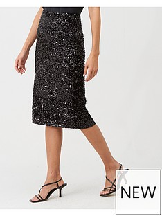 warehouse-velvet-sequin-midi-skirt-black