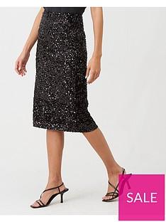 warehouse-velvet-sequin-midi-skirt-black