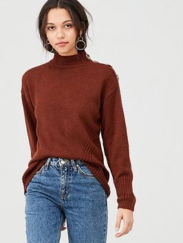 warehouse-button-shoulder-cosy-jumper-tan