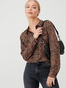warehouse-leopard-spot-shirt-tan