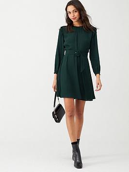 warehouse-pintuck-belted-mini-dress-dark-green