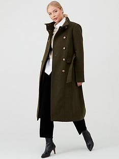 warehouse-longline-funnel-neck-coat-khaki