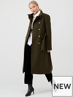 warehouse-longline-funnel-neck-coat-khaki