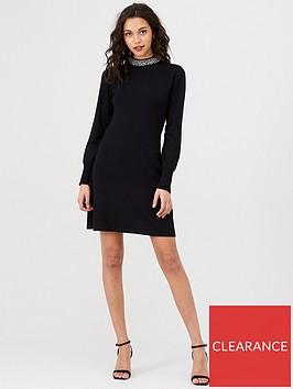 warehouse-embellished-high-neck-knitted-dress-black