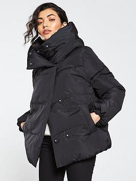 warehouse-asymmetric-tech-padded-coat-black