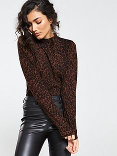 warehouse-animal-print-funnel-neck-jumper-chocolate
