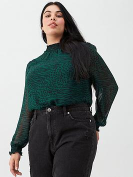 oasis-curve-agate-animal-chiffon-shirred-neck-blouse-multi-green