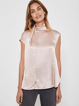 mint-velvet-tie-neck-silk-top-pink