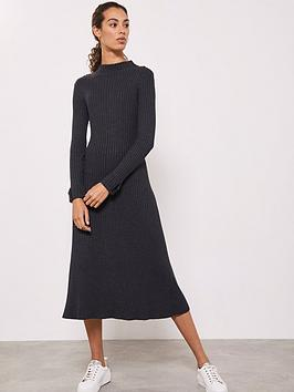 mint-velvet-ribbed-column-dress-charcoal