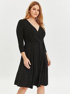 evans-evans-black-and-white-spot-wrap-jersey-dress