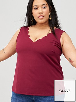 v-by-very-curve-scallop-edge-cami-red