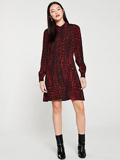 warehouse-feather-print-shirt-dress-red
