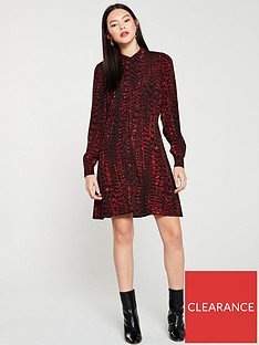 warehouse-feather-print-shirt-dress-red