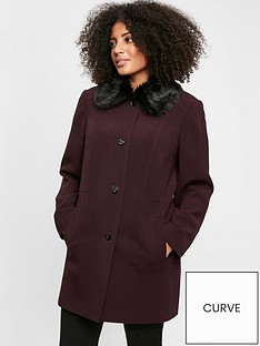evans-faux-fur-collar-dolly-coat-plum