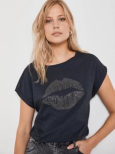 mint-velvet-lips-hot-fix-t-shirtnbsp--charcoal