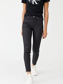 calvin-klein-high-rise-skinny-ankle-biker-jeans-coated-black