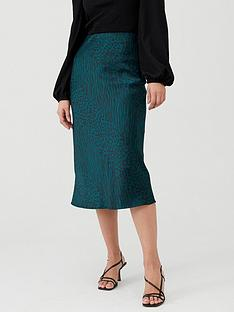 oasis-agate-animal-satin-bias-cut-skirt-multigreen