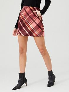 oasis-brushed-check-skirt-multi
