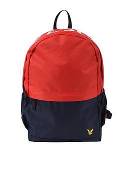 lyle-scott-colour-block-logo-backpack-rednavy