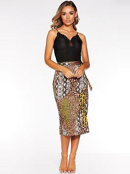 quiz-satin-mixed-animal-wrap-skirt-multi