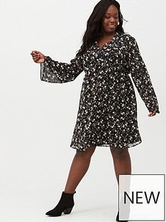 v-by-very-curve-flare-sleeve-babydoll-dress-print