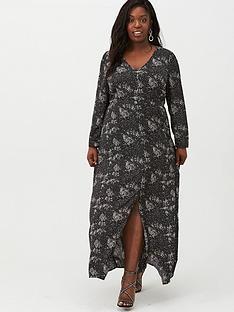 v-by-very-curve-v-neck-midaxi-dress-mono-print