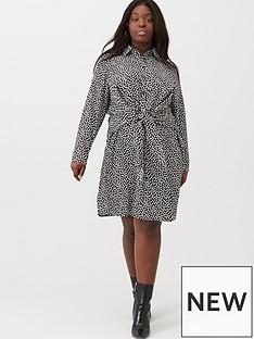 v-by-very-curve-knot-front-shirt-dress-spot-print